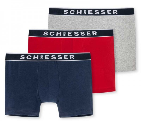 Schiesser Boxershorts 95/5 3-pack rood