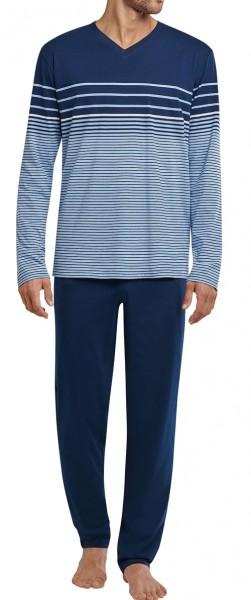 Schiesser heren pyjama blauw streep v-hals voorkant