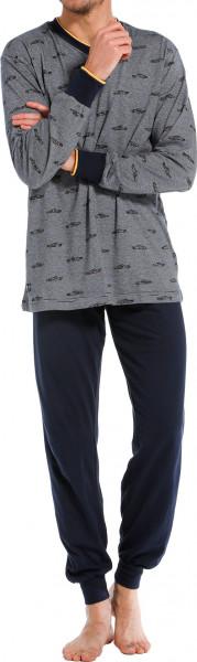 Pastunette pyjama blauw met print en V-hals