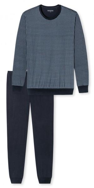 Schiesser heren pyjama ronde hals blauw
