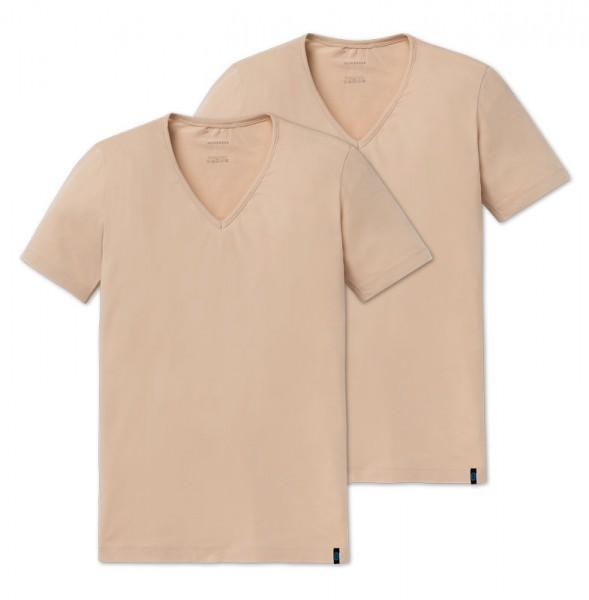Schiesser V-shirt 95-5 low V-neck 2-Pack beige