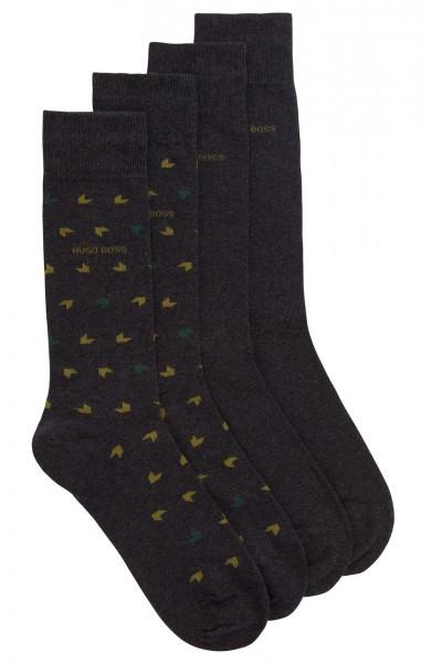 Hugo Boss heren sokken met print-effen antraciet