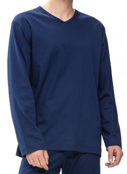 Mey V-hals pyjamashirt voorkant blauw
