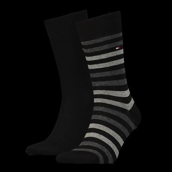 Tommy Hilfiger heren sokken gestreept 2-paar zwart