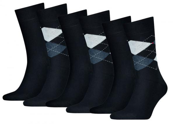 Tommy Hilfiger 6-paar sokken ruit-effen navy
