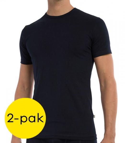 Claesens T-shirt stretch 2-pack blauw
