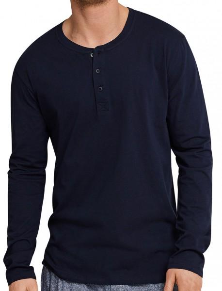 Schiesser pyjamashirt lange mouw met knoop voorkant
