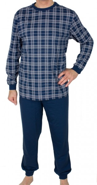 Schiesser pyjama ruitje met boorden voorkant