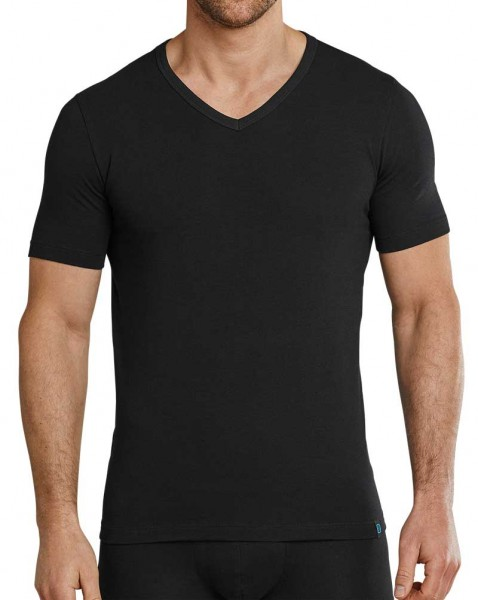 Schiesser V-shirt 95-5 stretch zwart