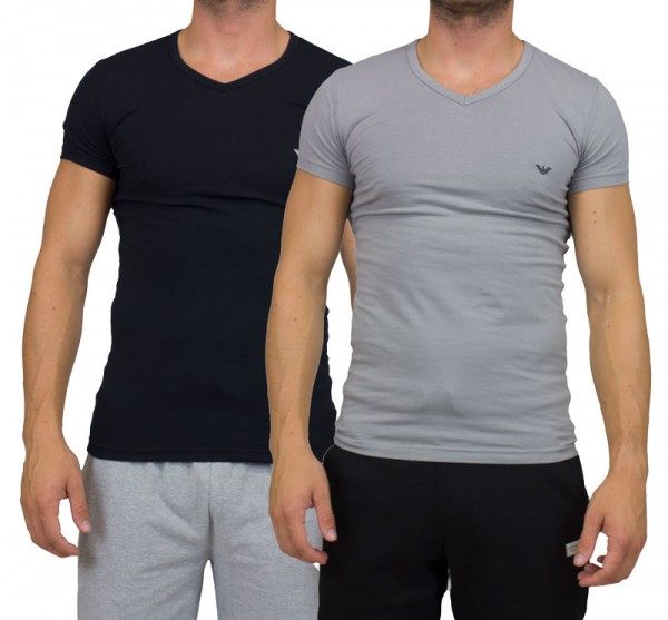 Armani V-shirt 2-pack cc717 zwart-grijs