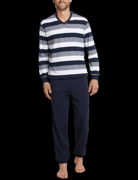 Schiesser Pyjama V-hals met boord gestreept