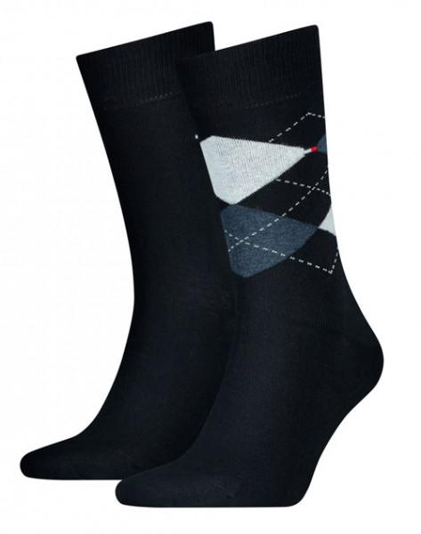 Tommy Hilfiger sokken ruit donkerblauw 2-paar