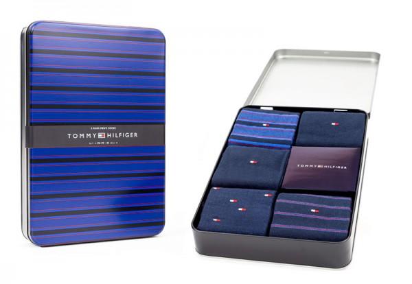 Tommy Hilfiger giftbox sokken fine stripe 5-pack