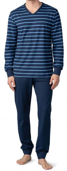 Mey V-hals pyjama Sratfort voorkant blauw