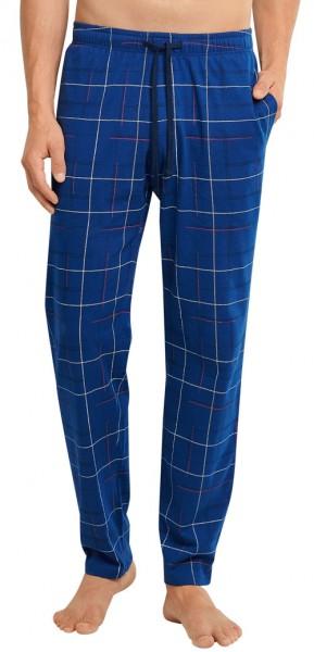 Schiesser pyjamabroek blauw ruit Jersey voorkant
