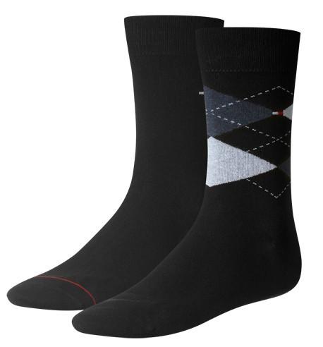 Tommy Hilfiger sokken ruit-effen 2-paar blauw