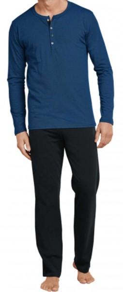 Schiesser Pyjama met knoopjes blauw