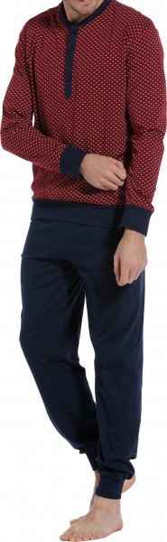 Pastunette heren pyjama met knoopjes rood