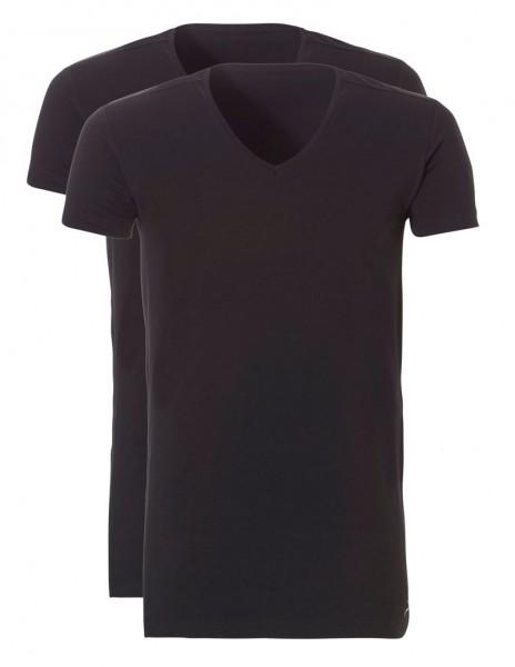 Ten Cate V-shirt basic Long 2pack zwart