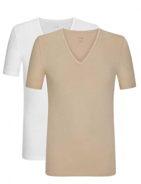 Mey Eronderhemd V-hals shirt dry cotton 2-pack wit/skin