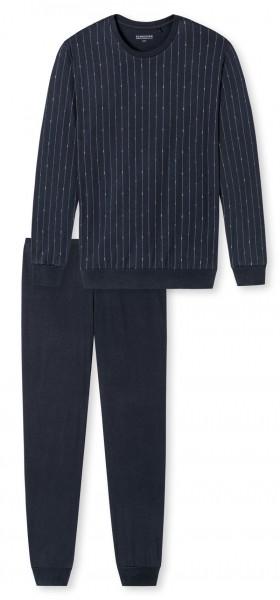 Schiesser heren pyjama met ronde hals blauw voorkant