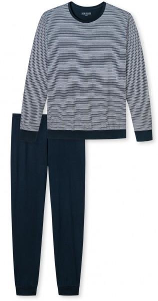 Schiesser pyjama met R-hals blauw