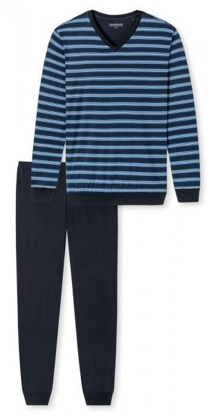 Schiesser heren pyjama met V-hals blauw