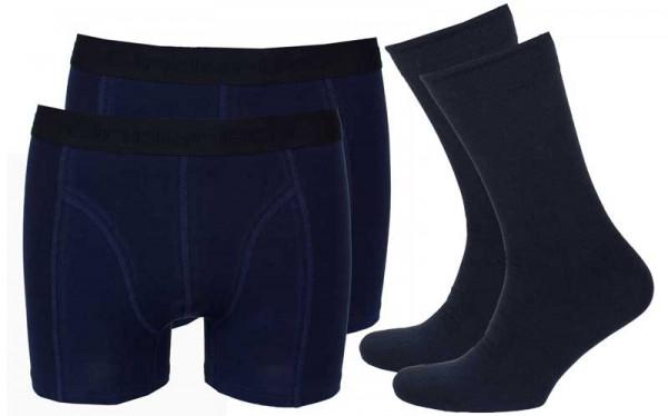 Onderbox 2-pack boxers en 2 paar sokken blauw