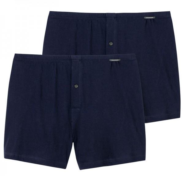Schiesser boxer wijd model Jersey 2-pack blauw