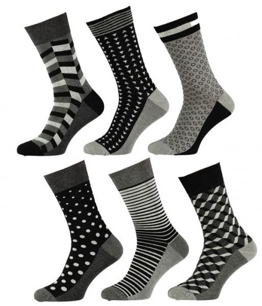 Apollo sokken 6-paar print zwart-grijs