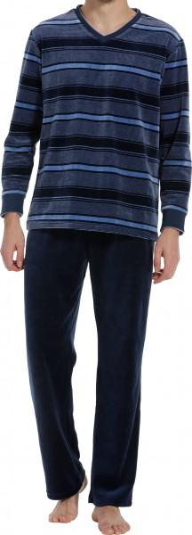 Pastunette heren pyjama Velours blauw