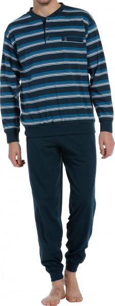 Robson heren pyjama met knoopjes blauw