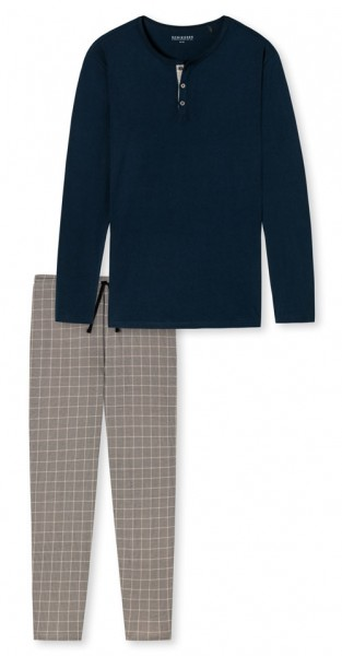 Schiesser pyjama blauw-beige met knoopjes