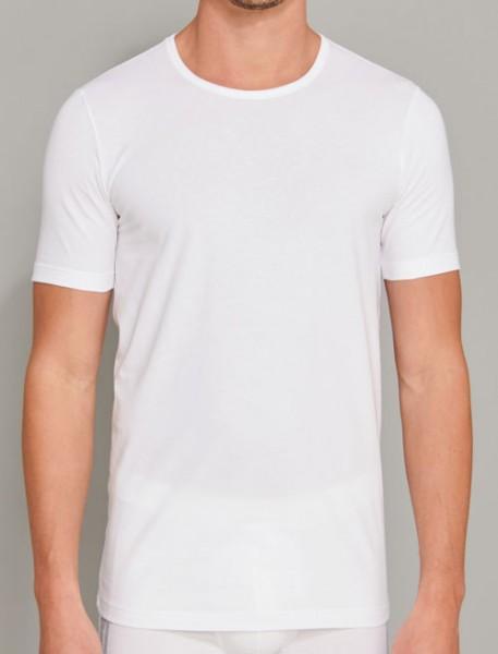 Schiesser T-shirt 95/5 ronde hals 2-pack wit voorkant