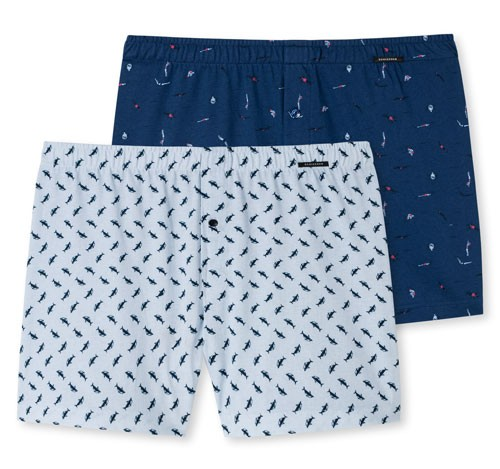 Schiesser Jersey boxers 2-pack blauw-print