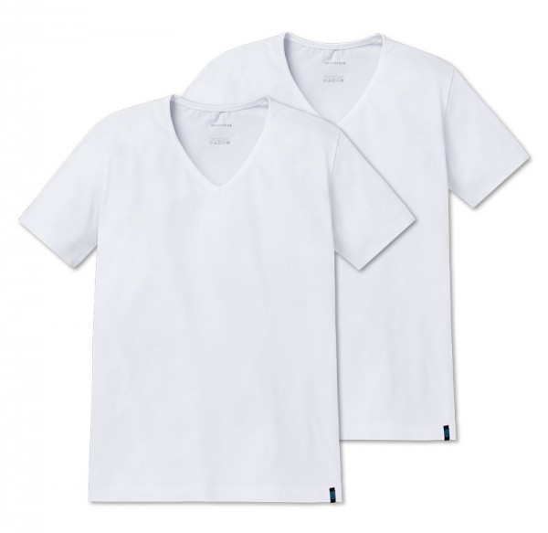Schiesser V-shirt 95-5 low V-neck 2-Pack wit