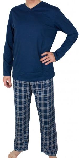 Schiesser pyjama ruitje met V-hals