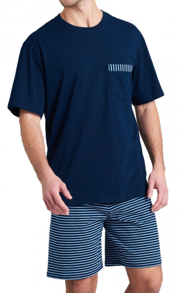 Schiesser shortama blauw print voorkant