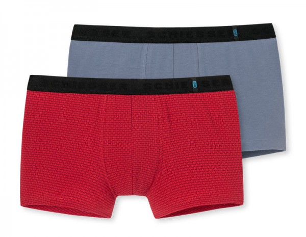 Schiesser Boxershorts 95-5 rood-grijs 2-pack