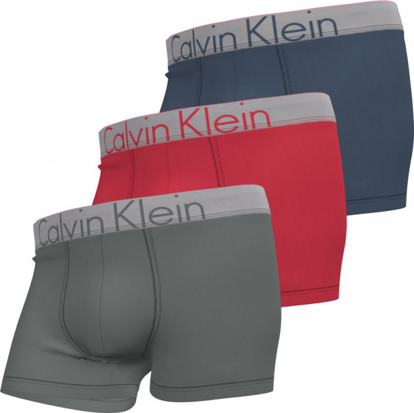 Calvin Klein boxershorts Steel 3-pack grijs-rood-blauw