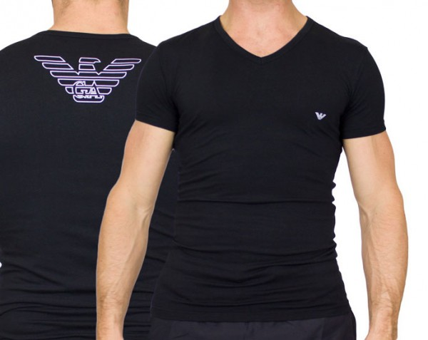 Armani V-shirt Eagle print zwart