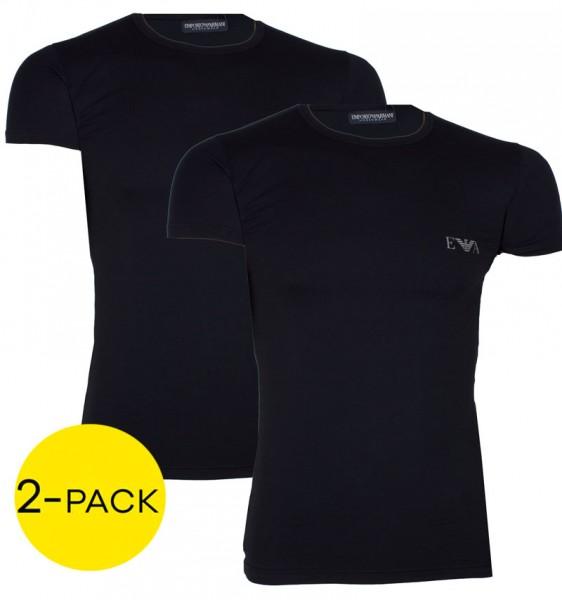 Armani EA T-shirts logo print 2-pack zwart