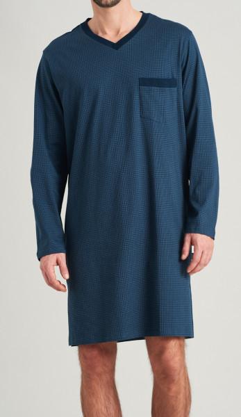Schiesser Nachthemd blauw blokjes voorkant