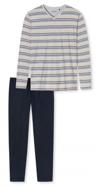 Schiesser heren pyjama V-hals met boord grijs