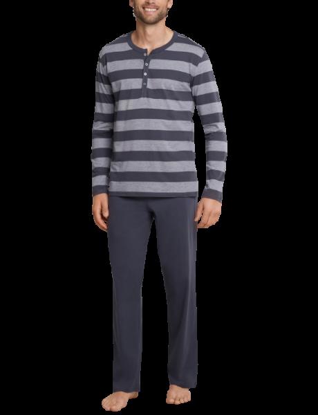 Schiesser pyjama gestreept met knopen voorkant